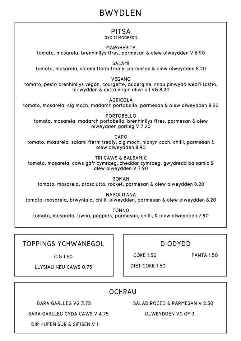 Delivery menu cymraeg